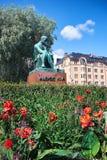 HELSINKI, FINLAND - JULY 17, 2015: Sculpture of Aleksis Kivi on Rautatientori Square. Royalty Free Stock Photos