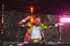 Helsinki, Finland - June 30, 2018: DJ of Helsinki pride festival in Kaivopuisto garden royalty free stock images