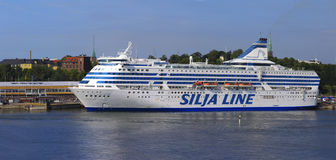HELSINKI, FINLAND-JUNE 26: The ferry Silja Line is moored at the mooring in the city of Helsinki. Finland JUNE 26 2013.Paromy Silja Line of regular flights Royalty Free Stock Photos