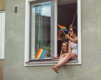 Helsinki, Finland - June 30, 2018: Girls in window on Helsinki pride festival royalty free stock photography