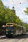 Helsinki, Finland - JUNE 4, 2015: Helsinki tram. Street tram runs in Helsinki city centre.  The Helsinki system is one of the olde Stock Photo
