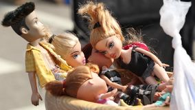 HELSINKI, FINLAND - JUNE 19, 2018: Old dolls at the flea market.