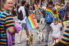 Helsinki, Finland - June 30, 2018: Participants with dogs on street on Helsinki pride festival royalty free stock photography