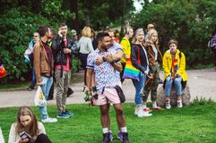 Helsinki, Finland - June 30, 2018: Participants of Helsinki pride festival in Kaivopuisto garden royalty free stock images
