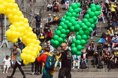 Helsinki, Finland - June 30, 2018: People with balloons near Cathedral on Helsinki pride festival on Senate square royalty free stock photo