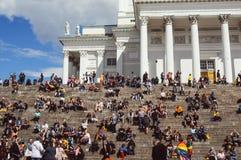 Helsinki, Finland - June 30, 2018: People near Cathedral on Helsinki pride festival on Senate square stock photo