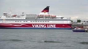 Sea cruise ferry `Gabriella` company `Viking Line` in the port of Helsinki. Helsinki, Finland - June 10, 2017: Sea cruise ferry `Gabriella` company `Viking Line stock video
