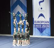 Team ÖBV Fierce Dragons from Austria performing at The ECU European Cheerleading Championships 2018. Helsinki, Finland - June 30, 2018: Team ÖBV Fierce stock image
