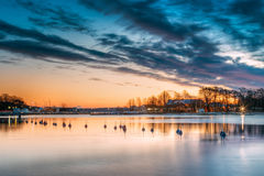 Helsinki, Finland. Landscape With City Pier, Jetty At Winter Sunrise Stock Images