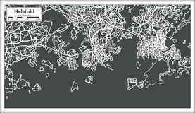 Helsinki Finland Map in Retro Style. Vector Illustration. Outline Map Stock Image