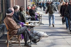 HELSINKI,FINLAND-MARCH 29: the street musician plays on empty bo Stock Photo