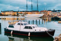 Helsinki, Finland. Marine Boat, Powerboat In Evening Illumination. At Pier Royalty Free Stock Image