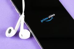 Amazon Prime Video application icon on Apple iPhone X screen close-up. Amazon PrimeVideo app icon. Amazon Prime application. Socia stock images