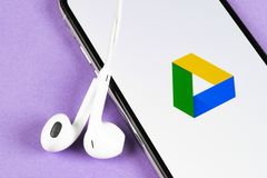 Google Drive application icon on Apple iPhone X screen close-up. Google drive icon. Google Drive application. Social media network stock photo