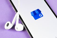 Google My Business application icon on Apple iPhone X screen close-up. Google My Business icon. Google My business application. So. Helsinki, Finland, May 4 royalty free stock photography