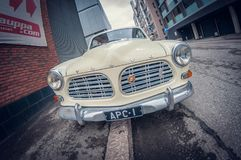 Helsinki, Finland - May 16, 2016: Old white Volvo Amazon car. distortion perspective fisheye lens royalty free stock photos