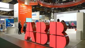 Pavilion of ABB Robotics at the big exhibition PacTec in Helsinki stock video