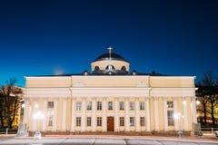 Helsinki, Finland Nationale Bibliotheek van Finland in Verlichting bij Avond stock afbeelding