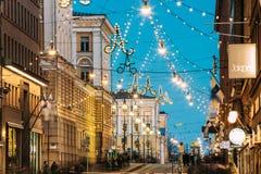 Free Helsinki, Finland. Night Evening Christmas Xmas New Year Festive Illumination On Aleksanterinkatu Street. Beautiful Royalty Free Stock Photos - 138013078