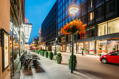 Helsinki, Finland. Night Evening View Of Kluuvikatu Street In He Royalty Free Stock Image