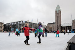 HELSINKI, FINLAND � NOVEMBER 25: skating rink in the city center. Close to the railway station on 25 November, 2012 in Helsinki, Finland Stock Images
