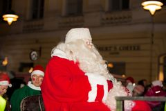 The traditional annual parade of Santa Claus at the opening of the Christmas holidays. royalty free stock images