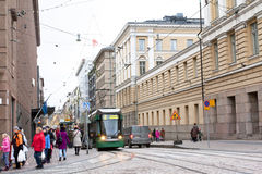Helsinki, Finland - 17 November 2016: tram on city street. Stock Images