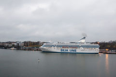 HELSINKI, FINLAND - OCTOBER 25 :the ferry boat SILJA LINE is moored at the mooring in port of the city of Helsinki , Finland OCTOB Royalty Free Stock Image