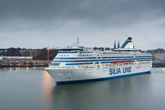 HELSINKI, FINLAND - OCTOBER 25 : the ferry boat SILJA LINE sails from port of the city of Helsinki , Finland OCTOBER 25 2016. Stock Photo