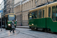 HELSINKI, FINLAND - OCTOBER 25:The movement of the tram on streets of Helsinki,FINLAND-OCTOBER 25 2016 Royalty Free Stock Photos