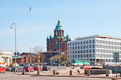 Helsinki. Finland. Office building and Uspenski Cathedral Royalty Free Stock Image