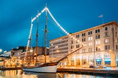 Free Helsinki, Finland. Old Wooden Sailing Vessel Ship Schooner Is Moored Royalty Free Stock Photography - 99455387