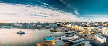 Helsinki, Finland. Panoramic Aerial View Of Market Square, Street. With Presidential Palace And Helsinki Cathedral stock images