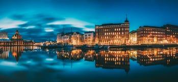 Helsinki, Finland. Panoramic View Of Kanavaranta Street With Uspenski Cathedral And Pohjoisranta Street In Evening Night