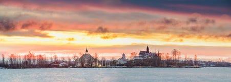 Helsinki, Finland. Panoramic View Of Sunrise Landscape Of Blekholmen Stock Photography