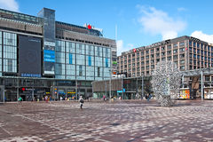 Helsinki. Finland. People on The Narinkka Square Stock Photography