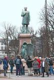 Helsinki. Finland. People near Johan Ludvig Runeberg Statue Royalty Free Stock Images