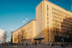 Helsinki, Finland. Post Office Building In Sunny Winter Day.  stock image