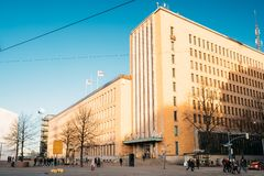 Helsinki, Finland. Post Office Building In Sunny Winter Day. Helsinki, Finland - December 10, 2016: Post Office Building In Sunny Winter Day royalty free stock images