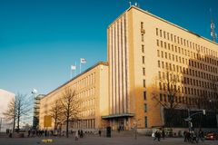 Helsinki, Finland. Post Office Building In Sunny Winter Day.  royalty free stock image
