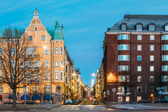 Helsinki, Finland. Residential House Building At Intersection Of. Merikatu, Neitsytpolku And Puistokatu Streets In Winter Morning Evening. Ullanlinna Royalty Free Stock Images