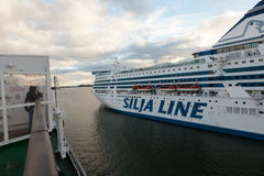 HELSINKI, FINLAND-SEPTEMBER 27: The ferry Silja Line is moored at the mooring in the city of Helsinki. Finland SEPTEMBER 27 2013.Paromy Silja Line of regular Stock Photography
