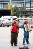 HELSINKI, FINLAND-SEPTEMBER 27: Street musicians play on the st Royalty Free Stock Photos