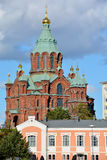HELSINKI FINLAND SEPTEMBER 26 2105: Uspenski Cathedral is an Eastern Orthodox cathedral in Helsinki, Finland, dedicated to the Do. HELSINKI FINLAND SEPTEMBER 26 royalty free stock photo