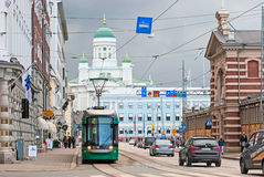 Helsinki. Finland. Tram near The Old Market Hall Royalty Free Stock Images