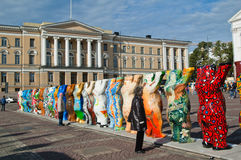 HELSINKI, FINLAND - United Buddy Bears exhibition. HELSINKI, FINLAND - SEPTEMBER 27: United Buddy Bears exhibition visiting on Senate Square with their 20th royalty free stock photos