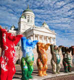 HELSINKI, FINLAND - United Buddy Bears exhibition. HELSINKI, FINLAND - SEPTEMBER 27: United Buddy Bears exhibition visiting on Senate Square with their 20th stock photo
