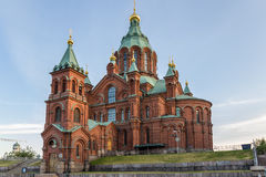 Helsinki, Finland. Uspenski Cathedral. Uspenski Cathedral is an Eastern Orthodox cathedral in Helsinki, Finland, dedicated to the Dormition of the Theotokos (the stock image
