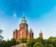 Helsinki, Finland. Uspenski Cathedral On Hill At Summer Sunny Day stock images