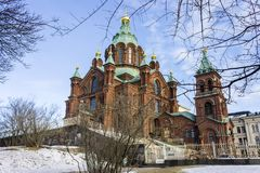 Helsinki, Finland. Uspenski Cathedral Uspenskin katedraali, an Eastern Orthodox cathedral dedicated to the Dormition of the Virgin Mary. Helsinki, Finland royalty free stock image